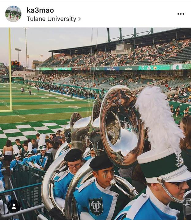 Photo challenge submission of Tulane marching band