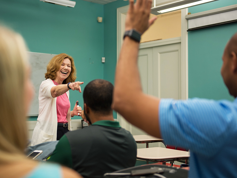 Michele Adams calls on a student in one of her classes
