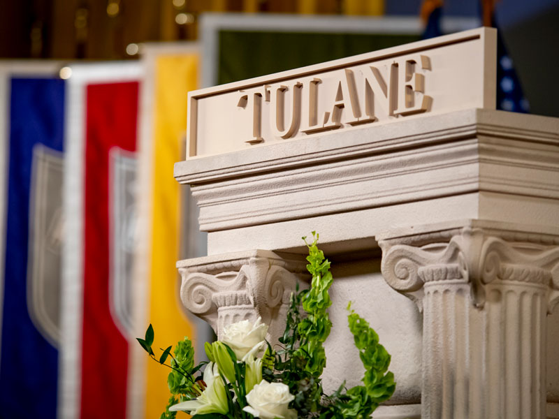 Tulane podium with flowers in front