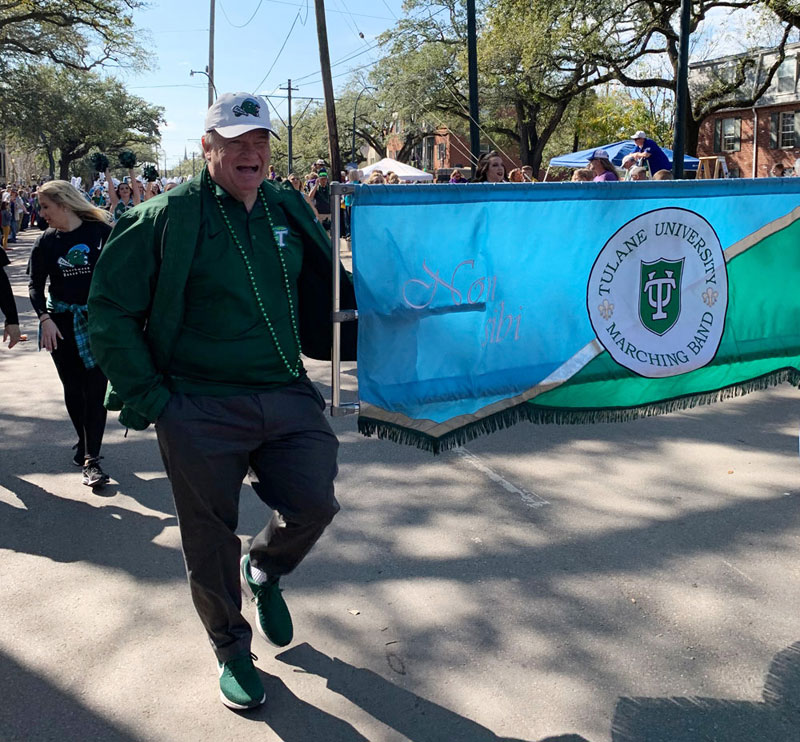 President Fitts marches with Tulane Marching Band